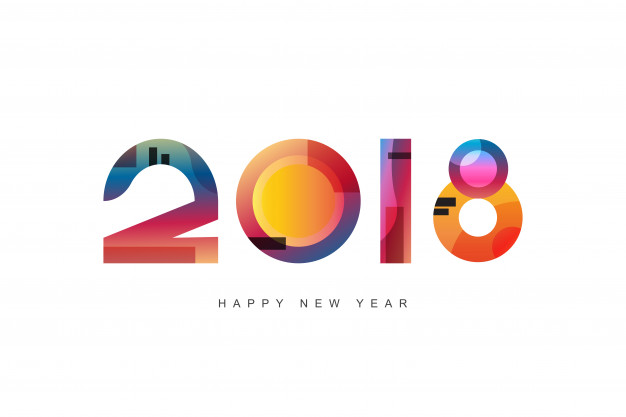 happy new year 2018 design greeting card design